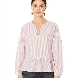 BCBGMAXAZRIA Long Sleeve Peasant Woven Top Sangria